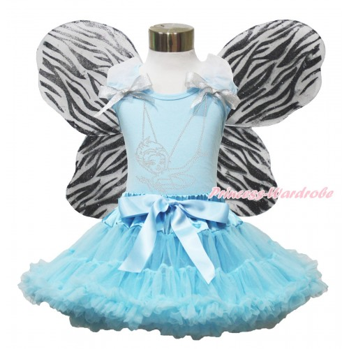 Light Blue Tank Top White Ruffles Sparkle Silver Grey Bow & Rhinestone Periwinkle & Light Blue Pettiskirt & Zebra Butterfly Wing MH282