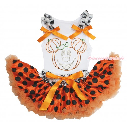 Halloween White Baby Pettitop Crown Skeleton Ruffles Orange Bows & Sparkle Rhinestone Pumpkin Minnie & Crown Skeleton Waist Orange Black Dots Newborn Pettiskirt NN218