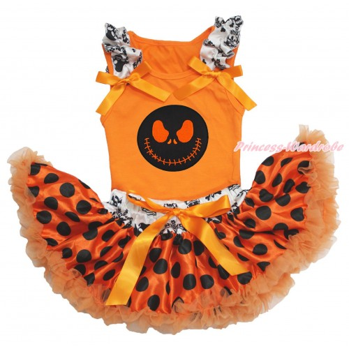 Halloween Orange Baby Pettitop Crown Skeleton Ruffles Orange Bows & Nightmare Before Christmas Jack & Crown Skeleton Waist Orange Black Dots Newborn Pettiskirt NO17