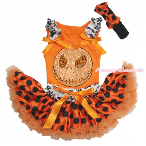 Halloween Orange Baby Pettitop Crown Skeleton Ruffles Orange Bows & Rhinestone Nightmare Before Christmas Jack & Crown Skeleton Waist Orange Black Dots Newborn Pettiskirt & Black Headband Orange Black Dots Satin Bow NO23