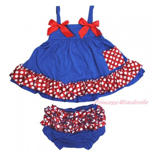 Royal Blue Minnie Dots Swing Top & Hot Red Bow & Panties Bloomers SP23