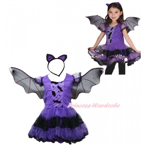 Bat Dark Purple Black One Piece Dress & Wing & Headband Halloween Costume C322