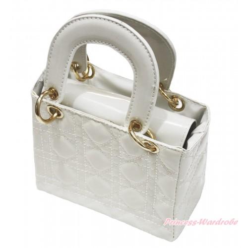Lovely Ring Square White Checked Cute Handbag Petti Bag Purse CB173