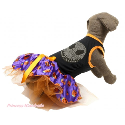 Halloween Black Sleeveless Purple Pumpkin Gauze Skirt & Sparkle Rhinestone Nightmare Before Christmas Jack & Orange Rhinestone Bow Pet Dress DC184