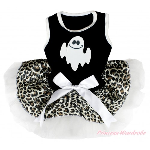 Halloween Black Sleeveless Leopard White Gauze Skirt & Ghost Print & White Bow Pet Dress DC187