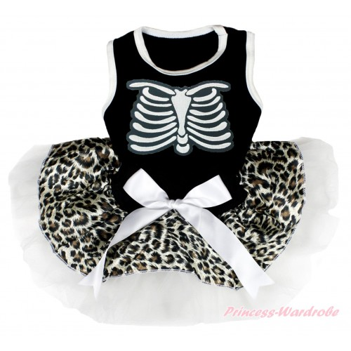 Halloween Black Sleeveless Leopard White Gauze Skirt & Skeleton Rib & White Bow Pet Dress DC188