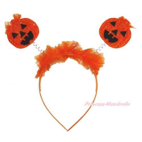 Halloween Sparkle Orange Pumpkin Headband H889