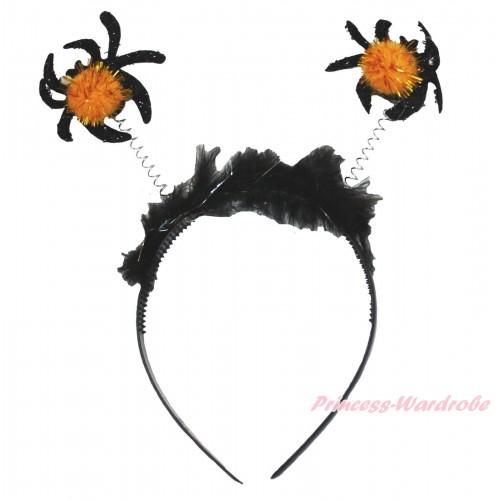 Halloween Sparkle Black Spider Headband H890