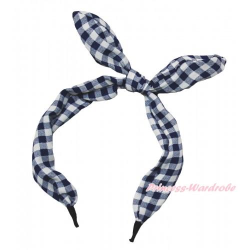 Blue White Checked Rabbit Bunny Ear Bow Headband H907