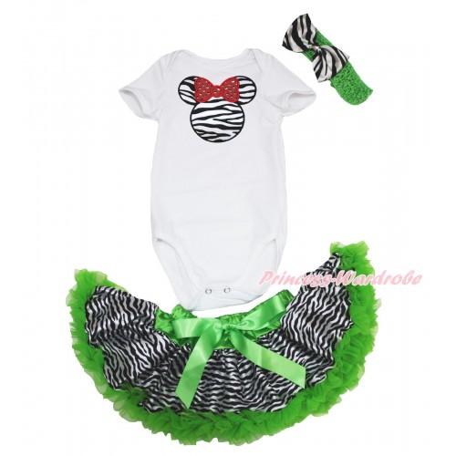 White Baby Jumpsuit & Zebra Minnie & Dark Green Zebra Newborn Pettiskirt & Dark Green Headband Zebra Satin Bow JN38