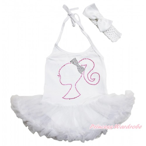 White Baby Halter Jumpsuit Pettiskirt & Sparkle Rhinestone Barbie Princess & White Headband Silk Bow JS3940