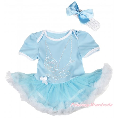 Light Blue Baby Bodysuit Light Blue White Pettiskirt & Sparkle Rhinestone Periwinkle & White Headband Light Blue Silk Bow JS3946