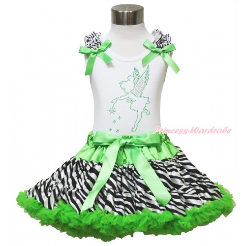 White Tank Top Zebra Ruffles Dark Green Bows & Sparkle Rhinestone Tinker Bell & Dark Green Zebra Pettiskirt MG1322