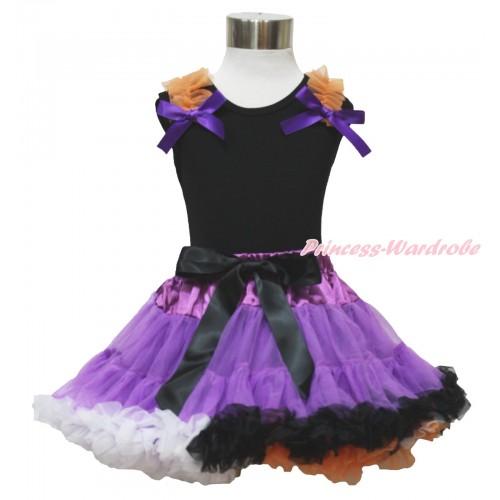 Black Tank Top Orange Ruffles Dark Purple Bow & Dark Purple Rainbow Pettiskirt MG1331