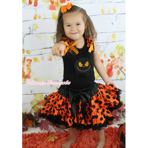 Halloween Black Tank Top Orange Black Dots Ruffles Orange Bows & Nightmare Before Christmas Jack & Orange Black Dots Pettiskirt MG1341