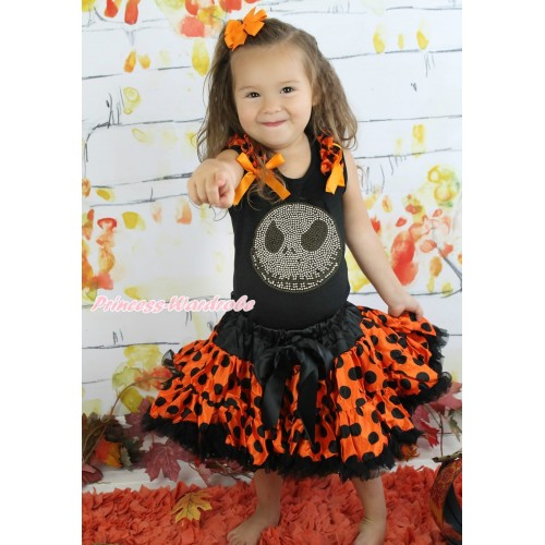 Halloween Black Tank Top Orange Black Dots Ruffles Orange Bows & Sparkle Rhinestoen Nightmare Before Christmas Jack & Orange Black Dots Pettiskirt MG1342