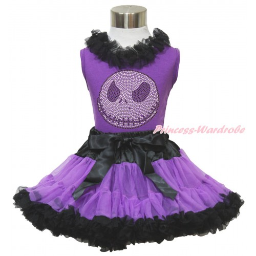 Halloween Dark Purple Tank Top Black Chiffon Lacing & Sparkle Rhinestone Nightmare Before Christmas Jack & Black Dark Purple Pettiskirt MN136