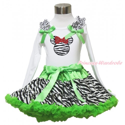 White Long Sleeve Top Zebra Ruffles Dark Green Bow & Zebra Minnie & Dark Green Zebra Pettiskirt MW528