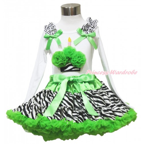 White Long Sleeve Top Zebra Ruffles Dark Green Bow & Dark Green Zebra Birthday Cake & Dark Green Zebra Pettiskirt MW530