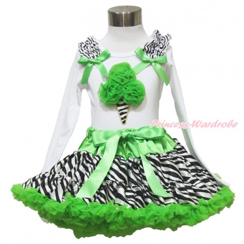 White Long Sleeve Top Zebra Ruffles Dark Green Bow & Dark Green Zebra Ice Cream & Dark Green Zebra Pettiskirt MW531