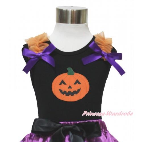 Halloween Black Tank Top Orange Ruffles Dark Purple Bow & Pumpkin Print TB915