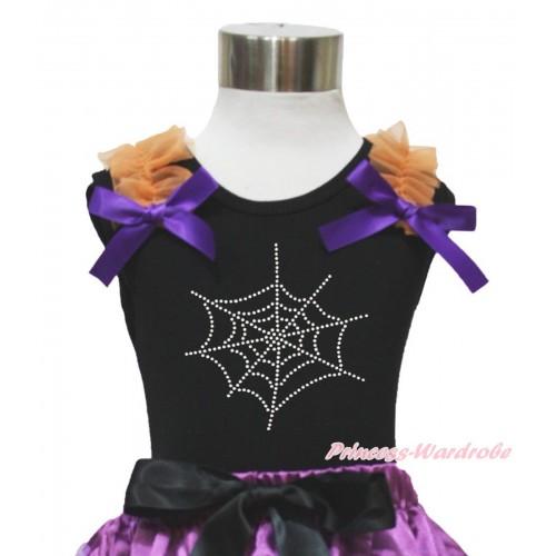 Halloween Black Tank Top Orange Ruffles Dark Purple Bow & Sparkle Spider Web Print TB916