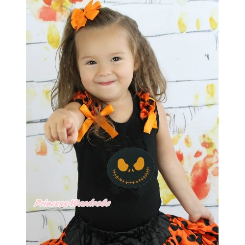 Halloween Black Tank Top Orange Black Dots Ruffles Orange Bow & Nightmare Before Christmas Jack TB924