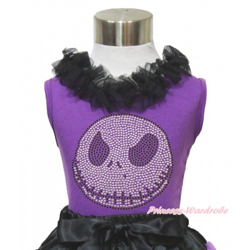 Halloween Dark Purple Tank Top Black Chiffon Lacing & Sparkle Rhinestone Nightmare Before Christmas Jack TN260