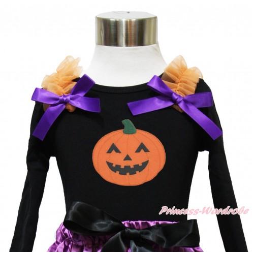 Halloween Black Long Sleeves Top Orange Ruffles Dark Purple Bow & Pumpkin Print TO374