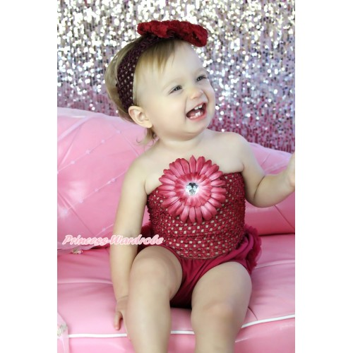 Raspberry Wine Red Ruffles Panties Bloomers & Raspberry Wine Red Flower Crochet Tube Top and Headband Rose Bow 3PC Set CT676