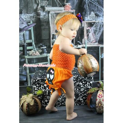 Halloween Orange Crochet Tube Top & Black Skeleton Orange Bows Bloomer & Orange Headband Purple Pumpkin Satin Bow 3PC Set CT686