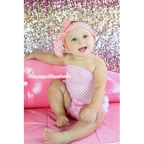 Light Pink Crochet Tube Top & White Ruffles Light Pink White Dots Panties Bloomers & Light Pink White Dots Rabbit Ear Wire Headband 3PC Set CT687