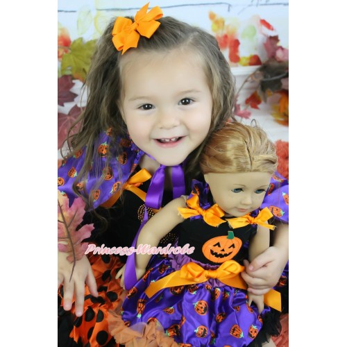 Halloween Black Tank Top Purple Pumpkin Ruffles Orange Bows & Punpkin & Purple Pumpkin Pettiskirt American Girl Doll Outfit DO013