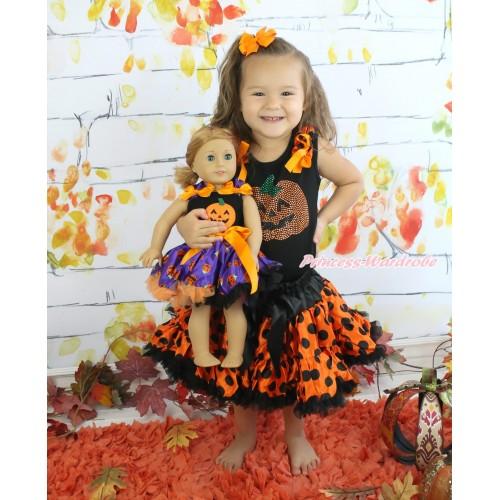 Halloween Black Tank Top Orange Black Dots Ruffles Orange Bows & Rhinestone Pumpkin & Orange Black Dots Girl Pettiskirt Matching Pumpkin Black Top & Purple Pumpkin Pettiskirt American Girl Doll Outfit Set DO044