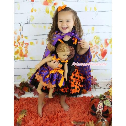 Halloween Black Tank Top Orange Black Dots Ruffles Orange Bows & Rhinestone Pumpkin & Orange Black Dots Girl Pettiskirt & Pumpkin Purple Satin Cape Matching Pumpkin Black Top & Purple Pumpkin Pettiskirt American Girl Doll Outfit Set DO045