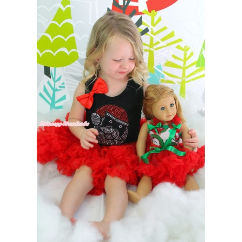 Xmas Black Tank Top Red Bows & Rhinestone Santa Claus & Red Girl Pettiskirt Matching Santa Claus Tank Top Red Ruffles Kelly Green Bow Red Skirt American Girl Doll Outfit Set DO049