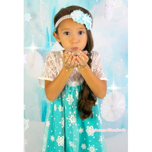 Frozen Elsa Lace White Blue Snowflakes Short Sleeve Party Dress C005