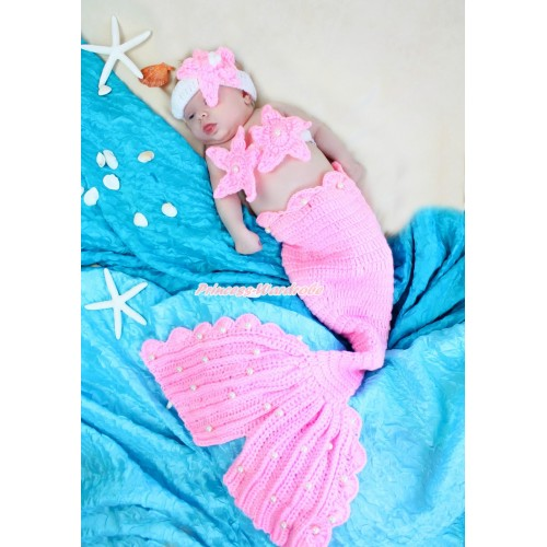 Light Pink Starfish Mermaid Photo Prop Crochet Newborn Baby Custome C295
