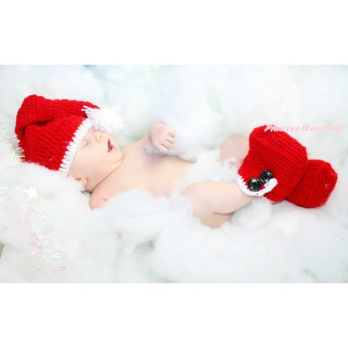 Xmas Santa Claus Hat Shoes Photo Prop Crochet Newborn Baby Custome C298