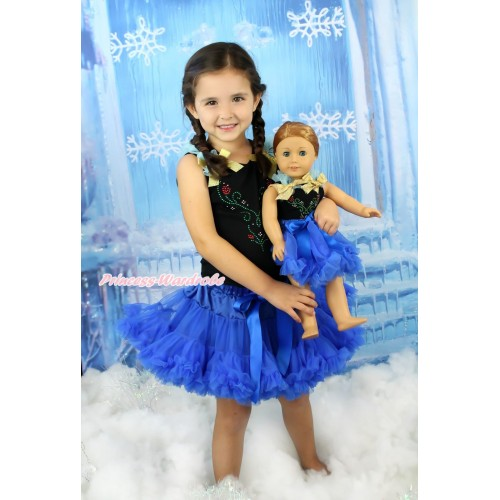 Frozen Black Tank Top Light Blue Ruffles Sparkle Gold Bows & Rhinestone Princess Anna & Royal Blue Girl Pettiskirt Matching American Girl Doll Outfit Set DO079