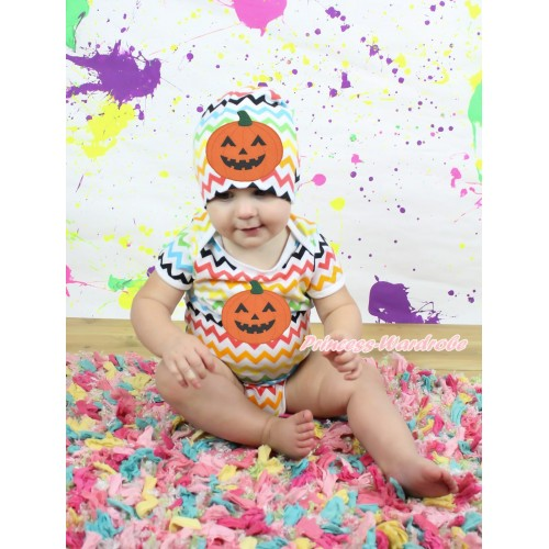 Halloween Rainbow Chevron Baby Jumpsuit & Pumpkin Print & Cap Set JP64