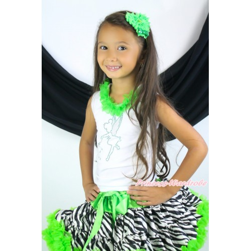 White Tank Top Dark Green Chiffon Lacing & Sparkle Rhineatone Tinker Bell Print & Dark Green Zebra Pettiskirt MG1440