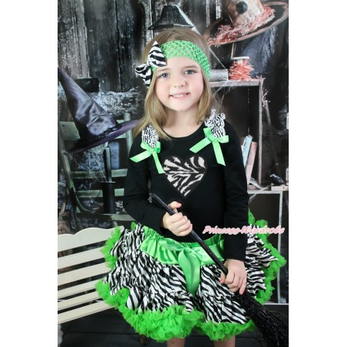 Valentine's Day Black Long Sleeve Top Zebra Ruffles Dark Green Bow & Zebra Heart & Dark Green Zebra Pettiskirt MW552
