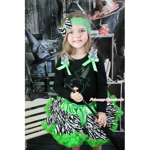 Black Long Sleeve Top Zebra Ruffles Dark Green Bow & Sparkle Rhinestone Tinker Bell & Dark Green Zebra Pettiskirt MW554