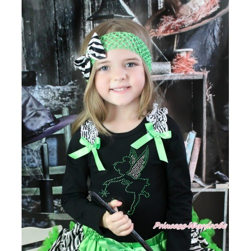 Black Long Sleeves Top Zebra Ruffles Dark Green Bow & Sparkle Rhinestone Tinker Bell Print TO387