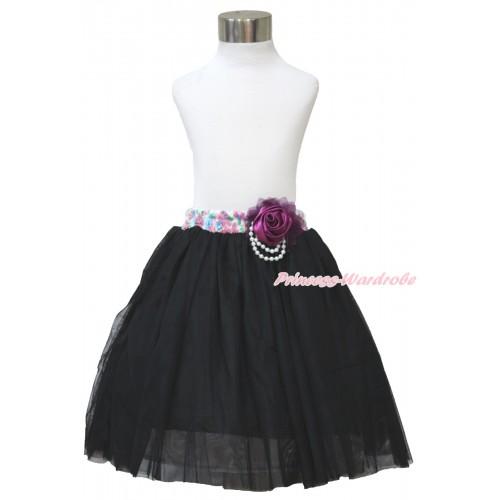 Dark Purple Pearl Petal Rose With Rainbow Floral Fusion Waist Black Chiffon Maxi Skirt B265