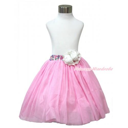 White Pearl Satin Rose With Rainbow Floral Fusion Waist Light Pink Chiffon Maxi Skirt B266