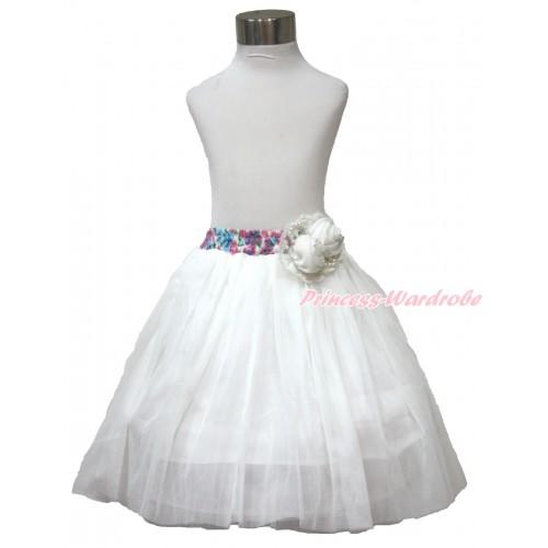 White Pearl Satin Rose With Rainbow Floral Fusion Waist White Chiffon Maxi Skirt B267