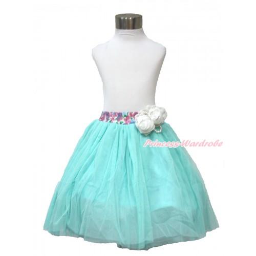 White Pearl Satin Rose With Rainbow Floral Fusion Waist Aqua Blue Chiffon Maxi Skirt B268