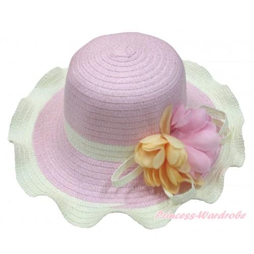 Light Pink Cream White Summer Beach Straw Hat With Orange & Light Pink Flower H852